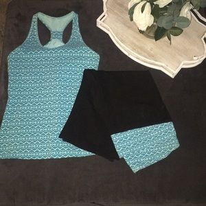 Matching top and bottom workout clothes